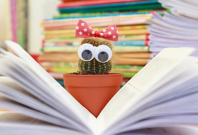 cactus reading a book